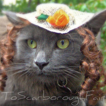Cat Hat  Southern Belle Hat with Wig by ToScarboroughFair on Etsy