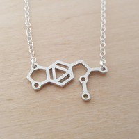 MDMA Necklace - Ecstasy Necklace -  Molecule Necklace - Science Necklace - Geek Necklace - Sterling Silver Necklace - Gift for Her
