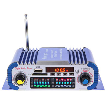 Hi-Fi Car Stereo Power Amplifier Sound Mode Stereo 12V Digital Auto LED Audio Music Player Support USB MP3 DVD SD FM