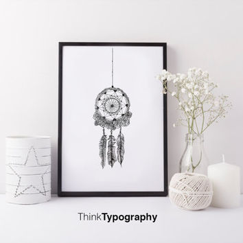 dream catcher, minimal, simple, art, print, home decor, black and white, dreams, minimalist, inspirational, motivational,