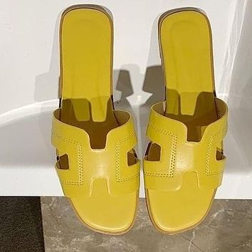 Hermes Fashion Women Leather Flat Slipper Sandals Shoes Yellow
