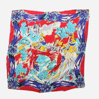 Vintage 40s Novelty Scarf / 1940s Large Bright Medieval Knights Castle Print Rayon Scarf