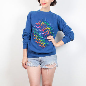Vintage 80s Sweatshirt Cobalt Blue RAINBOW Cut Out Studded Beaded 1980s Sweatshirt Custom Upcycled Cut Up Hipster Tshirt Sweater M Medium L