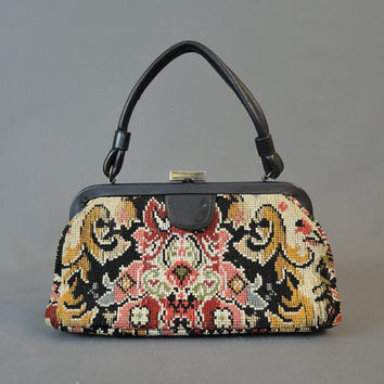 1960s Needlepoint  Purse in Black & Dark Colors, Vintage Fall Handbag, Jaclyn
