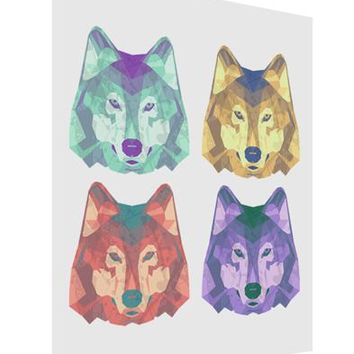 Geometric Wolf Head Pop Art Matte Poster Print Portrait - Choose Size by TooLoud