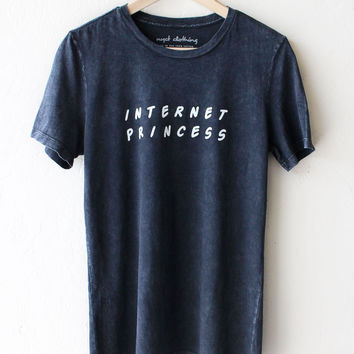 Internet Princess Relaxed Tee - Acid Wash Black
