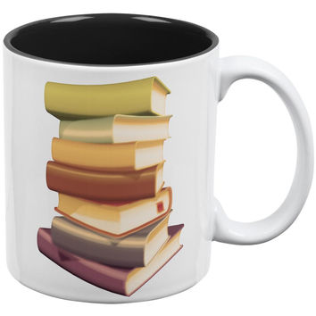 Book Collector Stack White-Black All Over Coffee Mug