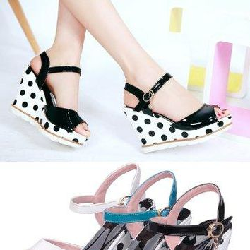 Polkadot Wedge Sandals - 3 Colors