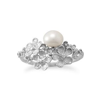 Platinum Floral and 6.2mm Freshwater Pearl Ring