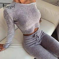 Slaygirl Knitted Sweater Two Piece Set Crop Tops And Long Pants Sexy Autumn Winter 2 Piece Set Women Long Sleeve New Outfits