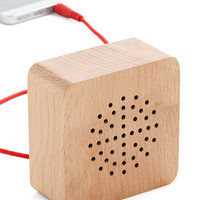 Rustic Wood You Turn It Up? Portable Speaker by Kikkerland from ModCloth