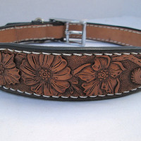 Leather dog, Daisies dog collar, custom dog collar, large dog collar, custom tooling, handmade collars, boho collars