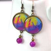 Purple Jade earrings, Bohemian earrings, Round resin earrings, Large statement earrings, Picture jewelry for women