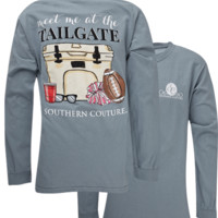Southern Couture Meet Me at the Tailgate Comfort Colors Long Sleeve T-Shirt