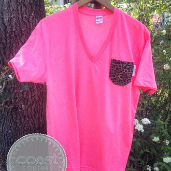 Leopard Fabric Pocket V-Neck