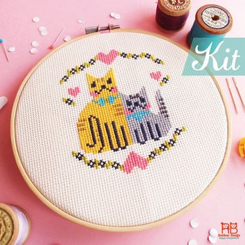 Valentine's Cross Stitch KIT - Kittens in LOVE - Happy Funny Cat Love Cheerful kitten Cute heart Cat xstitch easy sweet diy gift
