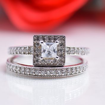 0.66 Carats Sterling Silver 2 Pieces Princess Cut Cubic Zirconia Bridal Engagement Wedding Ring Set