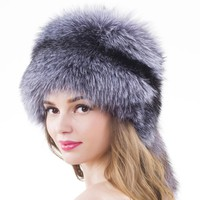 Unisex Fox Fur Hats Headgear Russian Outdoor Beanies Cap Ladies Raccoon Fur Winter Russian Skullies Hat With Whole Fox Fur Tail