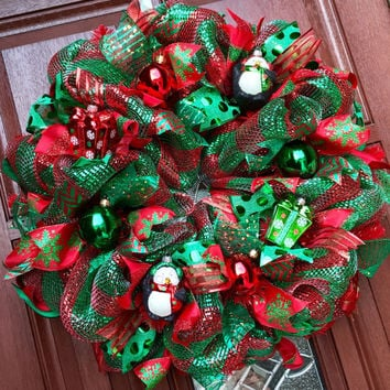 Christmas Wreath / Deco Mesh christmas Wreath / xmas Penguin / Red emerald green christmas gift
