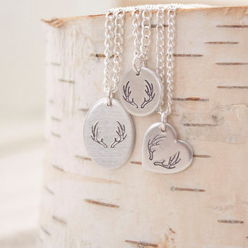 Silver Deer Antler Necklace - Antler Jewelry for Country Girl Jewelry - Silver Antler Charm - Gift for Christmas Gift for Teen Girl Necklace