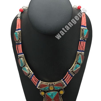 Ethnic Tribal Red Coral & Green Turquoise Inlay Boho Statement Necklace, NPL151
