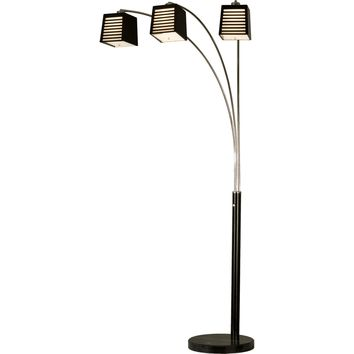 Louver 3 Light Arc Lamp Chrome Matte Black & Black Marble Dark Brown & White Linen Shade