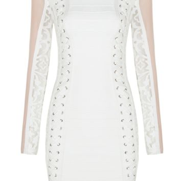 'Delacruz' Mesh Bandage Dress - White