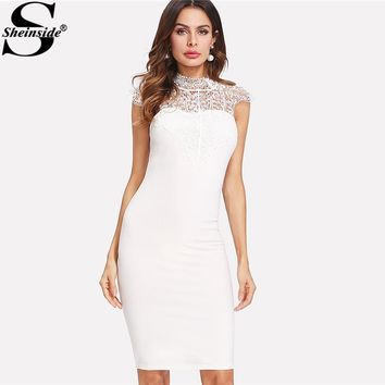 Sheinside White Contrast Lace Pencil Dresses Bow Tie Cutout Back Women Sexy Bodycon Dress 2018 Summer Midi Party Dress