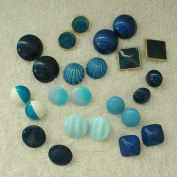 Lot of 12 Pairs Blue Earrings Button Post Style Shells Stripes Solid Jewelry