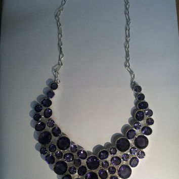 Handmade Charming Design Amethyst Hydro Gemstone studded German Silver Necklace in Traditional Design of Rajasthan