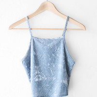 Velvet Cami Crop Top - Dusty Blue