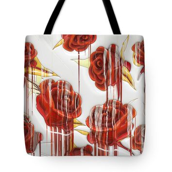 "Tear-Stained Roses Tote Bag 18"" x 18"""