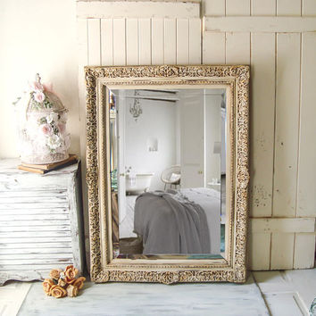 French Cottage Cream Ornate Vintage Mirror Large Cream and Gold Rustic Mirror Bathroom Mirror Shabby Chic Mirror Cream Ornate Wedding Mirror
