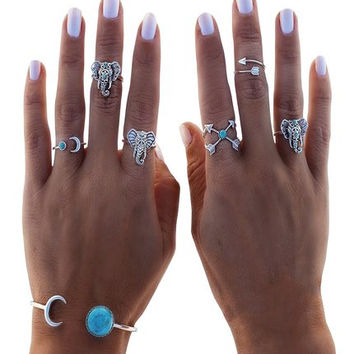 6 PC Turquoise Boho Elephant Ring & Bracelet SET