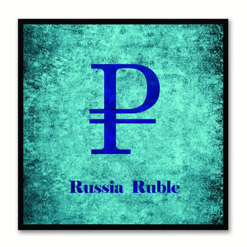 Russia Ruble Money Currency Aqua Canvas Print with Black Picture Frame Home Decor Wall Art Collection Gifts