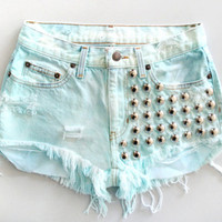 High Waisted Denim Shorts - Studded Mint