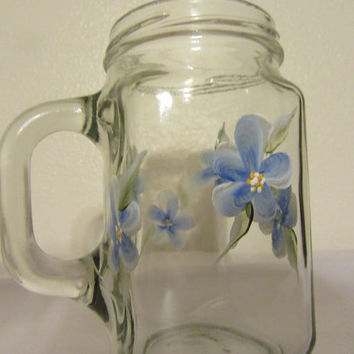 Hand Painted Floral Mason Jar Mugs - Aqua, Yellow, Purple, Reddish Pink, and Blue