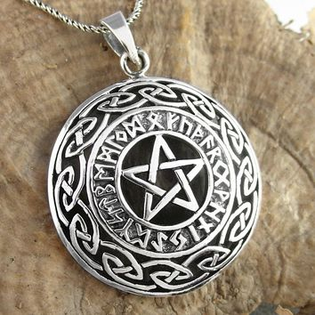 Pentacle Necklace With Runes and Celtic Knots