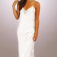 "100% Silk Charmeuse White Bridal Nightgown w/Lace ""Angelina"" (Small-XL)"