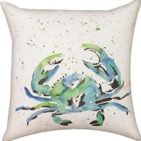 Manual Woodworkers & Weavers Climaweave Painted Crab Indoor/Outdoor 18-in Square Decorative Throw Pillow