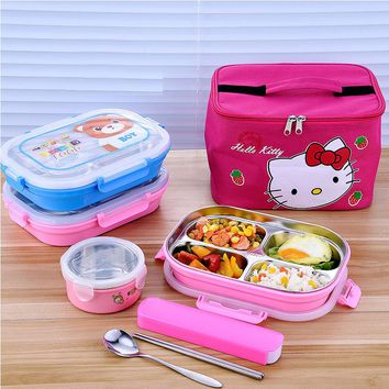 Hello Kitty Deraemon Cartoon Food Container Thermos Children School Picnic Portable Bento Lunch Boxes Rectangle Stainless Steel