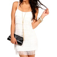 Ivory Fringe Flapper Cocktail Dresses