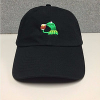 Dad cap Big Daddy hat KERMIT NONE OF MY BUSINESS UNSTRUCTURED DAD HAT CAP FROG TEA LEBRON JAMES NEW casquette kenye west ye bear