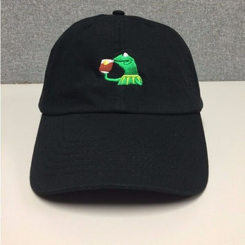 Big Daddy hat KERMIT NONE OF MY BUSINESS UNSTRUCTURED DAD HAT CAP FROG TEA LEBRON JAMES NEW casquette kenye west ye bear dad cap