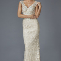 G2138 Cap Sleeve Lace Mother of Bride Dress Evening Gown