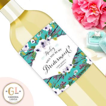 Floral Will You Be My Bridesmaid Wine Labels, Bridesmaid Proposal Wine, Bridesmaid Box, Maid of Honor thank You gift, Custom Wine Label