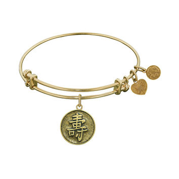 Antique  Stipple Finish Brass Longevity Chinese Symbol Angelica Bangle, 7.25 Inches Adjustable