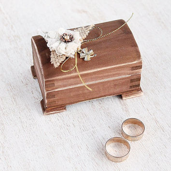Wood Wedding Ring Box, Personalized Ring Bearer Box, Small Rustic Ring Bearer Box, Keepsake Box, Engagement Box, Woodland Wedding Ring Box