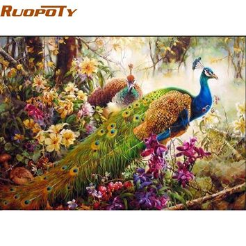 RUOPOTY diy frame Animals Digital Painting By Numbers Classical Home Decoration Wall Art Picture For Living Room Artwork 40X50