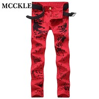 MCCKLE Fashion Mens Red Slim Fit Jeans Pants Flower Printed  Painted Denim Joggers Male Club Wear Straight Jean Trousers Q2688